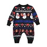 OverDose Damen Frohe Weihnachten Kleinkind Baby Langen Ärmeln Cartoon Schneemann Print Strampler Familie Party Weiche Geschenk Kleidung(Schwarz,12-18 Monate)
