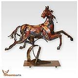 Phoenixarts Metall Eisen Skulptur Pferd (70x61x15) Vintage Dekofigur Tier Eisenskulptur Gaul Figur 413