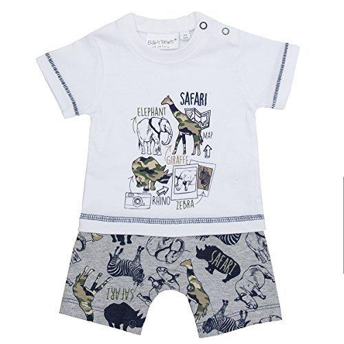 Baby Jungen Tier Safari Dschungel Wild Tarnmuster Mock T-Shirt Shorts 2-tlg Strampler Set - Safari Tiere, 62 (Baby-camo)
