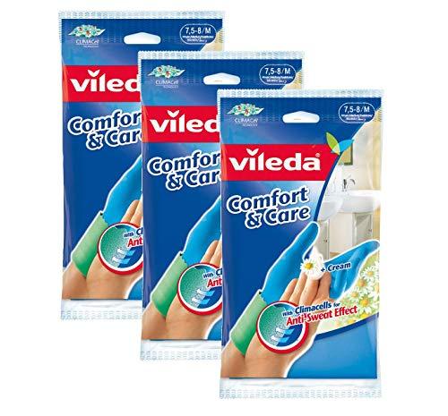 Vileda Comfort & Care Gummihandschuhe mit Kamille Lotion - 3er Vorratspack (3 x 1 Paar)