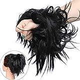 Extension Chignon Elastico Spettinato con Capelli Ricci Finti XXL Hair Magic Bun 45g Messy Curly Coda di Cavallo Treccia Carina - Nero Scuro