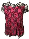 des nouvelles femmes, plus la taille de dentelle bordées tuniques (46, Pink)