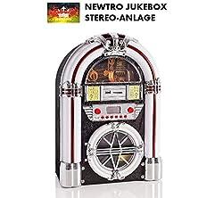 NEWTRO Jukebox Stereo-Anlage mit CD/CD-R/CD-RW/MP3, UKW/FM-Radio, USB/SD-Playback, AUX-IN, Fernbedienung, LED-Farbwechsel