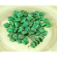 NUOVA FORMA di 30pcs Picasso Turchese Verde Piazza Paillettes Squarelet Un Foro Chip ceca Perle di Vetro 6mm x 6mm