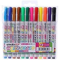 ECMQS 12unidades Nueva 12colores blanco placa Fabricante lápiz Whiteboard Marker fluidos tiza Borrador Baren Vidrio y cerámica Maker lápiz Oficina Escuela Alimentación
