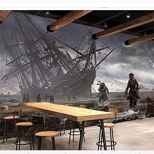 Preisvergleich Produktbild zyyaky Wallpaper Große Wandbild 3D Foto Wandbild Assassin Creed Piratenschiff Bar KTV Theme Tooling Hintergrund 3D Wallpaper