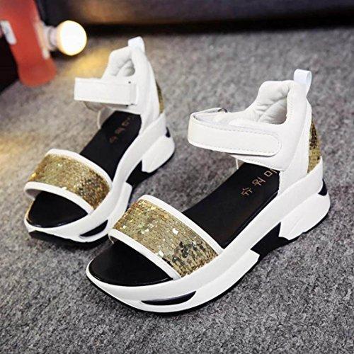 Webla Damen Sommer Sandalen Schuhe Peep-Toe High Schuhe Römische Sandalen Damen Flip Flops Gold