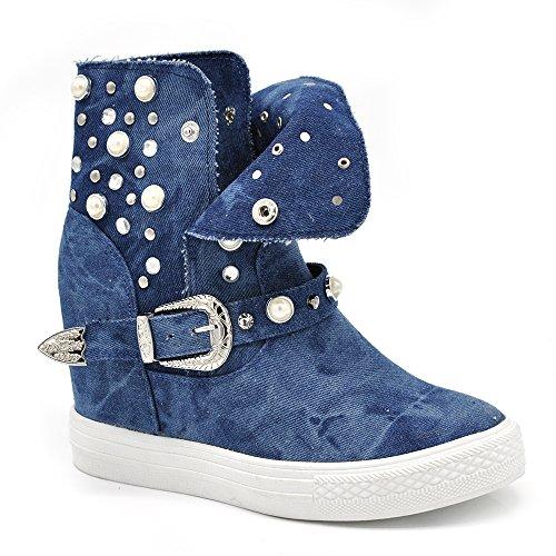 Sconosciuto If Fashion Scarpe da Donna Stivali Primaverili Stivaletti Jeans Zeppa Interna Rialzo Perline Fibbia K813 jeans