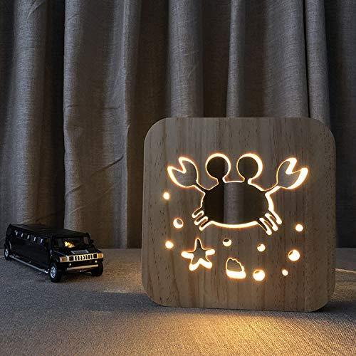 LED Schreibtischlampe,Neuheit USB Aus Holz Schlafzimmer 3D Nachtlicht,Halloween Weihnachten Valentinstag Kindertag Geschenk (Krabbe)
