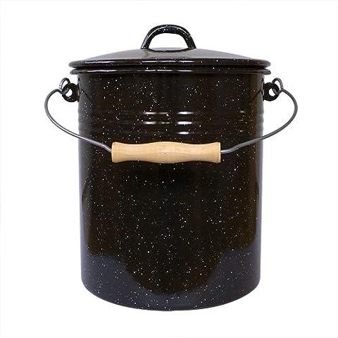 Mülleimer mit Deckel 10 Liter aus Haushaltemaille, schwarz-weiß gesprenkelt / Karl Krüger Emaille Abfalleimer / Eimer emailliert
