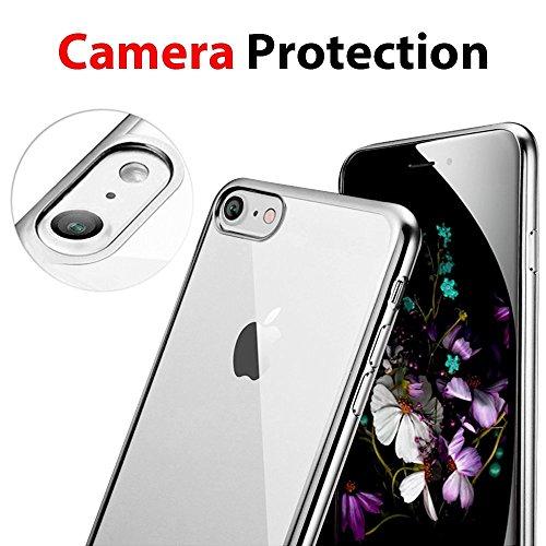 iPhone 7 Hülle, iPhone 7 Tasche, Coodio Chrome Plating Bumper TPU Handyhülle Case für iPhone 7 Tasche Schutzhülle Silikon Cover Durchsichtig für iPhone 7 - Rose Silber