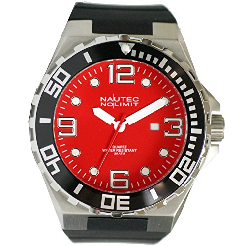 Nautec No Limit Men's Quartz Watch Analogue Display and Rubber Strap STUR-QZ-RBSTBK-RD