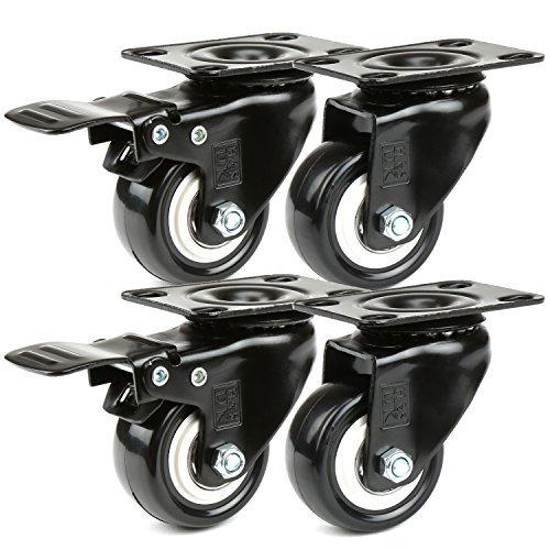 H&S® 4 Lenkrollen mit Bremsen, 50 mm, Tragfähigkeit: 200 kg, Schwenkräder, Wagen, Möbel, Nachlauf, Gummi