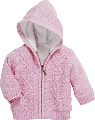 Schnizler Unisex Baby Jacke mit Zopfmuster, Fleece gefüttert Strickjacke, (Rosa 14), 80 -