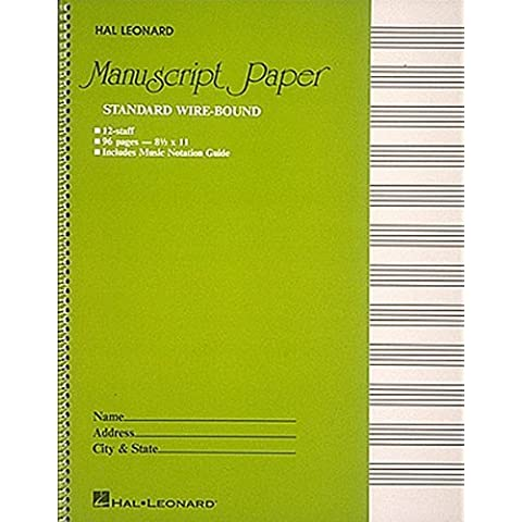 Standard Wirebound Manuscript Paper (Green Cover) by Hal Leonard Pub (1986-02-01)