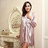 Wanglele Autumn And Winter Ladies Nightwear Emulation Silk Ladies Nightwear Satin Robes, Silk Dressing Gown, Bathrobes And Charge Series L