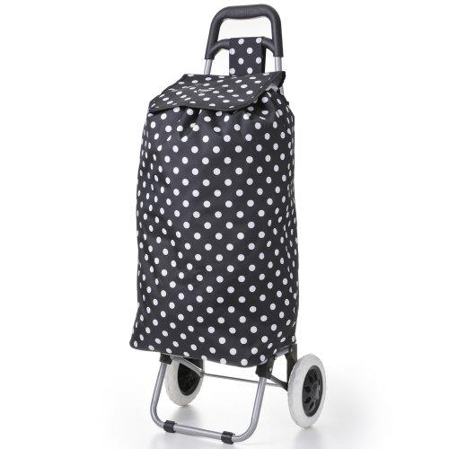 Warenkorb Einfach Räder (Hoppa 47litre Faltung leichte Einkaufswagens Einkaufstasche auf Rädern (Schwarze Tupfen))