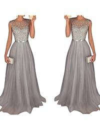 c9aad75d9d63 Ocamo Frauen Kleid Elegant Chiffon Pailletten Ärmellos Langes Kleid, sexy,  Photo Color, ...