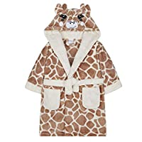 Vedder Kids Girls Dressing Gown Warm Winter Robes Night Lounge Wear (Giraffe, 4-5)