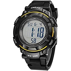 Unisex Sports Analog Digital Luminous Water Resistant Wrist Watches for Boys Girls(Yellow)