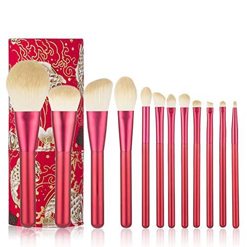 SJTL 12 pcs Makeup Pinsel Set Chemiefaser Chinesisches Rot,Einschließlich Puderpinsel Lidschatten...