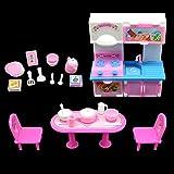 20 Piezas Cocina Set de Accesorios de Muebles para Muñeca Barbie, Moda Mesa Armario Fregadero Utens