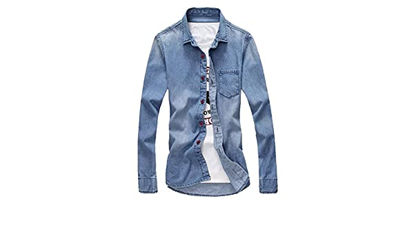 Jofemuho Mens Long Sleeve Denim Casual Button Up Chest Pocket Shirts