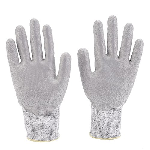 Preisvergleich Produktbild Xinrub Cut Resistant Handschuh,  1 Paar HPPE Shell mit schwarzem PU beschichtet auf Palm Kitchen Work Safety Hand Protect Handschuhe(M)