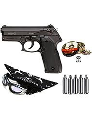 Pack pistola Perdigón Gamo PT-80 4,5mm. Potencia 3,4 Julios + gafas antivaho + pañuelo cabeza decorado, + balines + bombonas co2