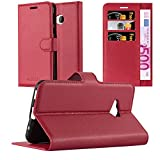 Cadorabo Hülle für HTC U Play - Hülle in Karmin ROT – Handyhülle mit Kartenfach und Standfunktion - Case Cover Schutzhülle Etui Tasche Book Klapp Style