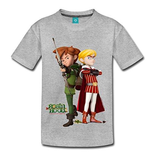 Spreadshirt Robin Hood Schlitzohr Von Sherwood Prinz John Kinder Premium T-Shirt, 122/128 (6 Jahre), Grau meliert