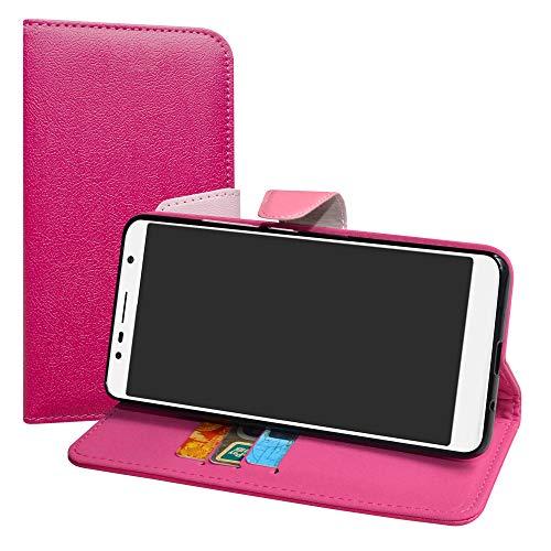 LiuShan Alcatel 3C Hülle, Brieftasche Handyhülle Schutzhülle PU Leder mit Kartenfächer und Standfunktion für Alcatel 3C (6 Zoll) Smartphone (mit 4in1 Geschenk verpackt),Pink