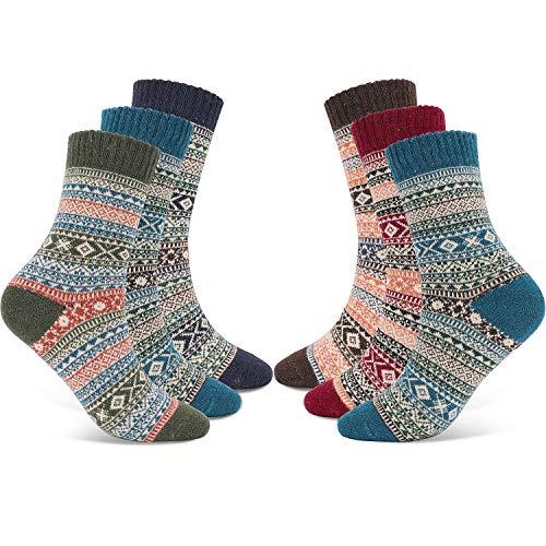Gifort calze calde, comode calze invernali vintage, calde forme antibatteriche colorate spesse traspiranti - 6 paia