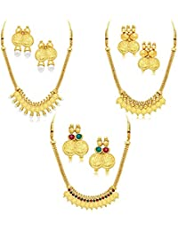 YouBella Fashion Jewellery Party And Wedding Wear Combo Of 3 Gold Plated Necklace Jewellery Set With Earrings...