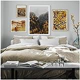 Antilope Canyon Fleur Plante 4 Panneau Art Toile Peinture Affiche Nordique et Intérieur Maison Vente Chaude Décoration - 60x80 cm No Frame