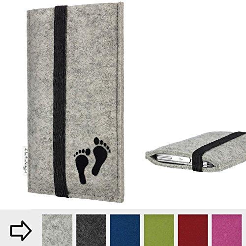 Tablethülle COIMBRA mit Fußabdruck und Gummiband-Verschluss für Shift Shift7+ - Filz Schutzhülle Case Etui Made in Germany in hellgrau schwarz - handgefertigte Tablet Tasche für Shift Shift7+