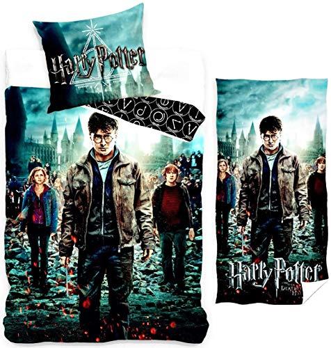 rainbowFUN.de Harry Potter Bettwäsche & Badehandtuch, Wendebettwäsche Handtuch, Bettzeug Set
