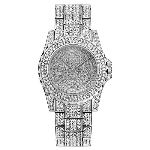 Pinzhi Damen Bling Uhren Mode Diamant Luxus Strass Armbanduhr Quarzuhr (Silber)
