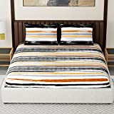 #6: Spaces Expressions 144 TC Cotton Double Bedsheet with 2 Pillow Covers - Striped, Grey