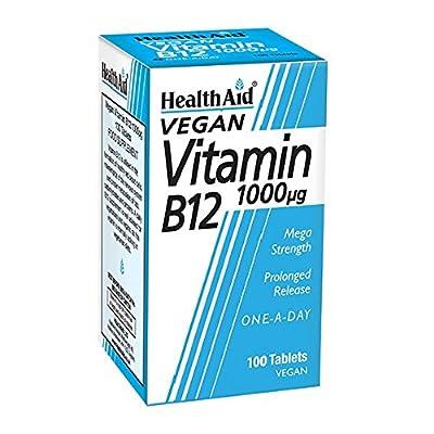 HealthAid Vitamin B12 (Cyanocobalamin) 1000ug - Prolong Release - 100 Tablets