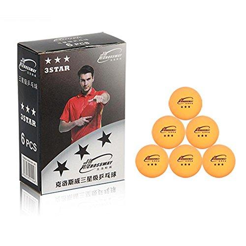 Prom-near 3-Sterne Ping Pong Tischtennisbälle (6er Pack) Pro 40 mm Regeln | Indoor/Outdoor | Standard Tischtennis-Set | Verbessert in Abprall, Rundheit, Härte | Orange oder Weiß