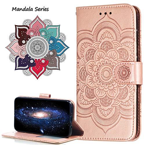 MRSTER Funda para Xiaomi Redmi Note 6 Pro, Estampado Mandala Libro de Cuero Billetera Carcasa, PU Leather Flip Folio Case Compatible con Xiaomi Redmi Note 6 Pro. LD Mandala Rose Gold
