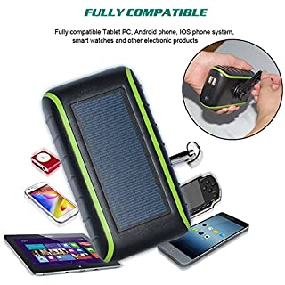 Solar Charger , CXYP 5400 mAh Hand Crank Solar Power Bank with Solar Panels Dual USB Outdoor Portable External Battery with LED Light for iPhone6s/7 /8 Plus,iPad,Samsung Galaxy Android telephone (Black)