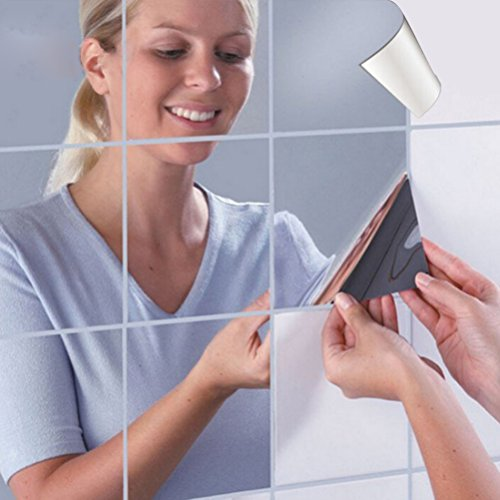 Yvody 9x Square Mirror Wall Stickers 3D Decal Mosaic Home Wash Room Window Decor