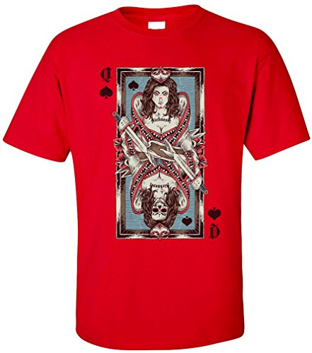 PAPAYANA - QUEEN-CARD - Herren T-Shirt - PIK DAME SKULL ROYAL FLUSH POKER SKAT UNO PLAYER Rot