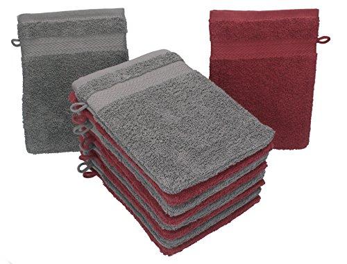 Betz lot de 10 gants de toilette taille 16x21 cm 100% coton Premium couleur rouge foncé, gris anthracite