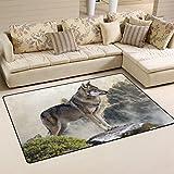 coosun Wolf auf der Mountain Bereich Teppich Teppich rutschfeste Fußmatte Fußmatten Wohnzimmer Schlafzimmer 152,4x 99,1cm, Textil, multi, 60 x 39 inch