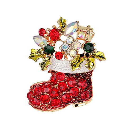 LANMPU Broschen Stiefel Kristall Weihnachten Brosche Xmas Geschenk für Weihnachtsschmuck Ornaments Geschenke