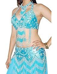 Herrlicher Turquoise/argenté wulstiger Bellydance 3pc Costume Support de Buste de oberseiten de hanches écharpe en 10–14M L