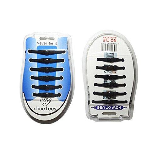 NUOLUX La valeur de 12pcs adulte sans lacets de chaussures Sneaker lacet élastique Silicone Tie (Black)